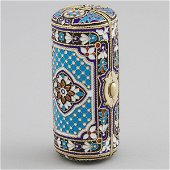 Russian Silver and Cloisonné Enamel Cylindrical