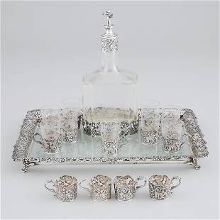 German Silver Mounted Etched Glass Liqueur Set, J.D.
