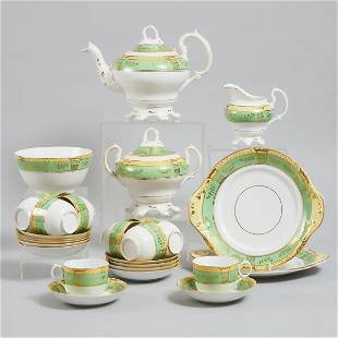 English Porcelain Apple Green, Yellow and Gilt Banded