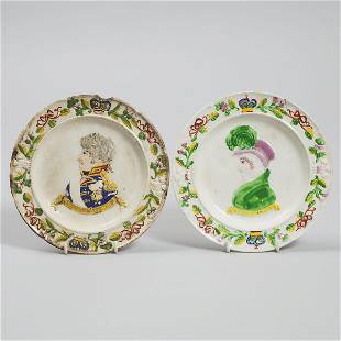 Pair of Pearlware Plates Commemorating the Coronation