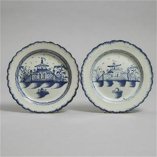 Two English Blue Painted Pearlware Plates, c.1780,