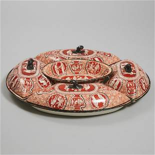 Spode Iron Red Printed Greek Pattern Pearlware Supper