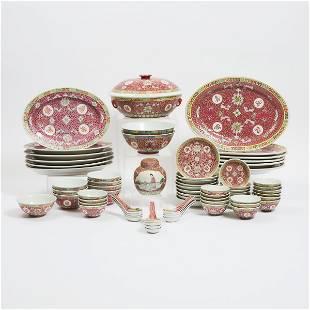 A Red-Ground 'Wanshou Wujiang' Pattern Dinner Service,