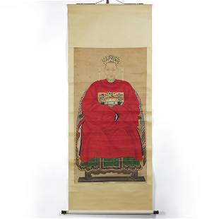 A Chinese Ancestor Portrait of a Matriarch, Late Qing