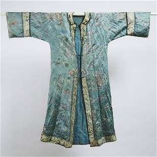 A Chinese Blue Ground Silk Embroidered Robe, 19th/20th