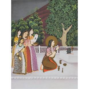 An Indian Miniature Painting of Court Ladies, 19th