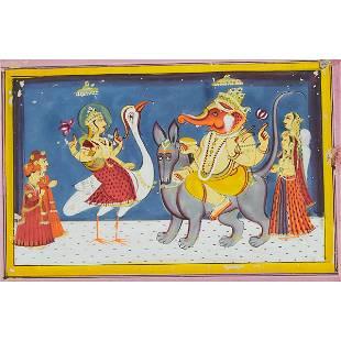 An Indian Miniature Painting of Sarasvati and Ganesh,
