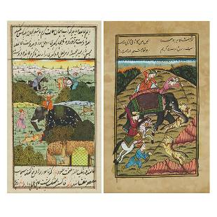 Two Indian Miniature Paintings of Hunting Scenes, 20th