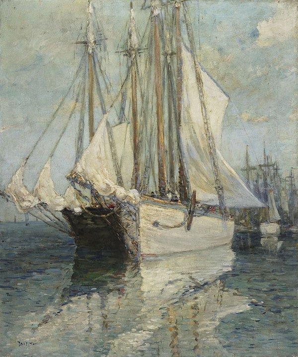 1019: American, Paul King (1867-1947), SHIPPING, Oil