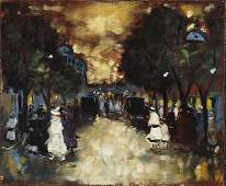 Hungarian, Antal Berkes (1874-1938), STREET SCENE