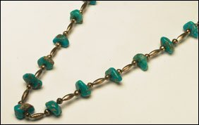 1: Native Art Silver and turquoise necklace formed of 1