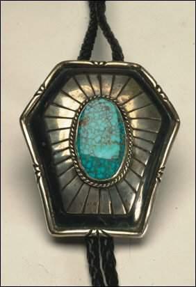 Native Art Navajo silver and leather bolo tie set wi