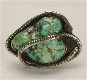 3: Native Art Navajo silver ring bezel set with a large