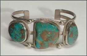 Native Art Navajo silver open bangle formed of three