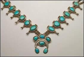 "Native Art Navajo sterling silver ""squash blossom"" n"
