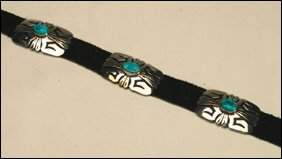 Native Art Navajo sterling silver and leather belt f