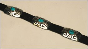 9: Native Art Navajo sterling silver and leather belt f