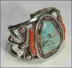 Native Art Navajo silver open bangle formed of a tw