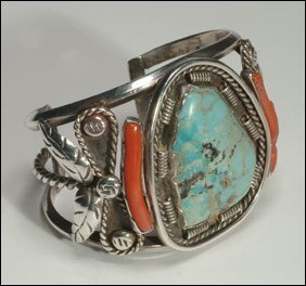 10: Native Art Navajo silver open bangle formed of a tw