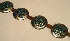 Native Art Navajo sterling silver and leather belt