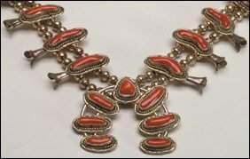 "Native Art Navajo sterling silver ""squash blossom"""