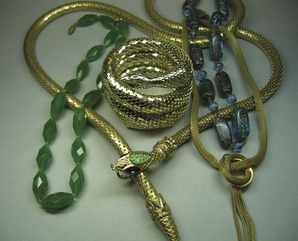 7: Whiting & Davis Snake Belt, & Qty Of Costume