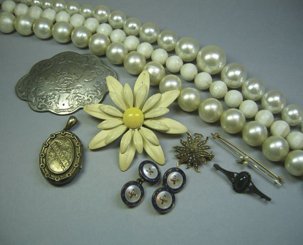 10: 2 x 14k Gold Pins, 3 Watches & A Qty Of Costume