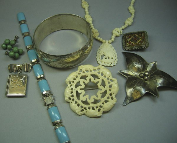 12: Qty Of Stering Silver Jewellery, Carved Ivory, etc