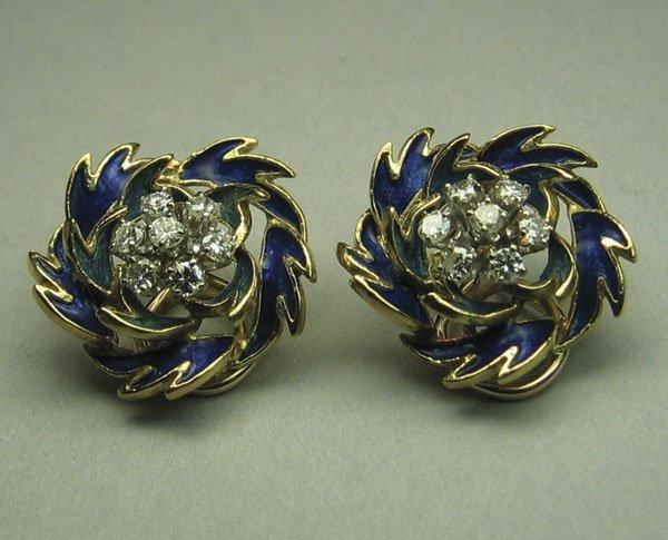 249: Pr. Of 18k Y. Gold Earrings with enamel & diamonds
