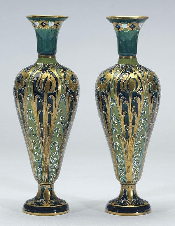 1014: Pair of Moorcroft Macintyre Florian Vases, c. 190