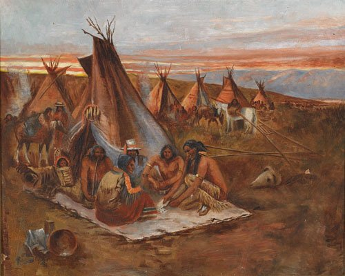 6:  TH PLAINS INDIANS PLAYING CARDS, Oil on canvas, 17""