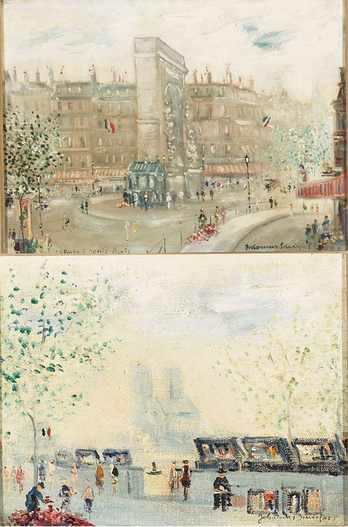 9: Dutch/American  PARIS; LES BOUQUINISTES, Two oils on
