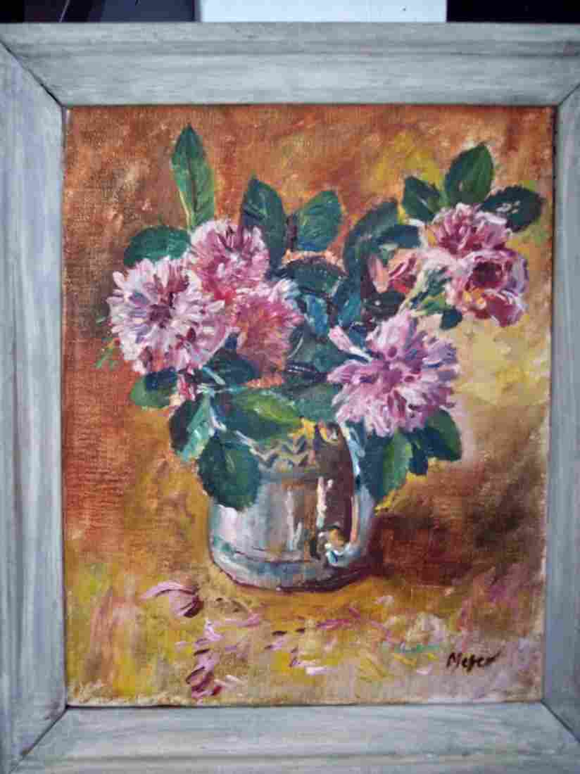 LISTED ARTIST HERBERT MEYER FLOWERS OIL PAINTING
