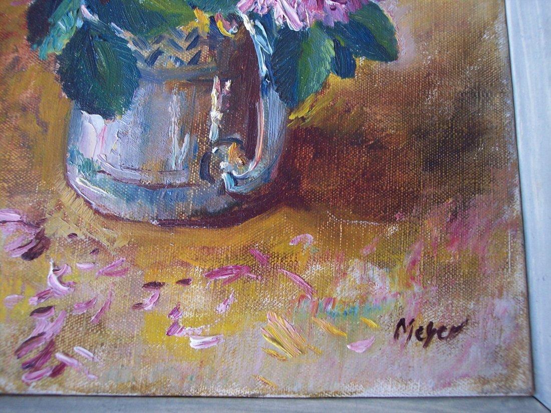 LISTED ARTIST HERBERT MEYER FLOWERS OIL PAINTING - 2