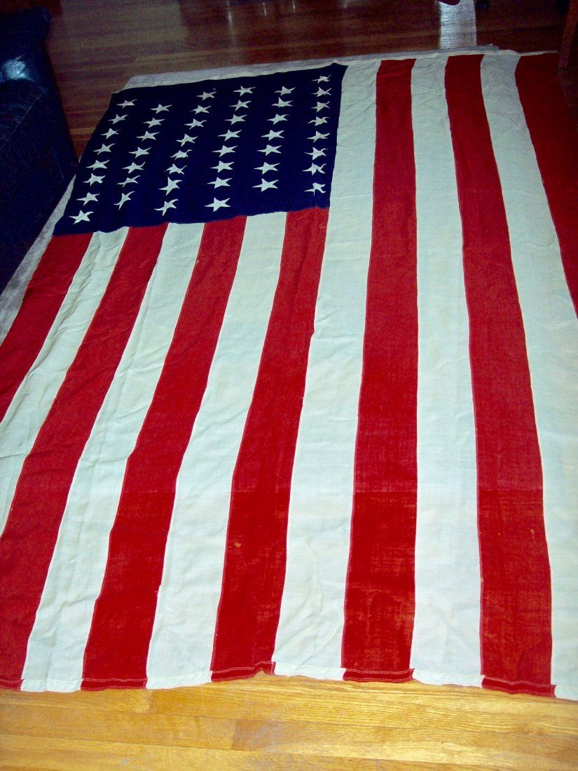 HUGE 46 STAR AMERICAN FLAG FROM J.GLENN DYER COLLECTION