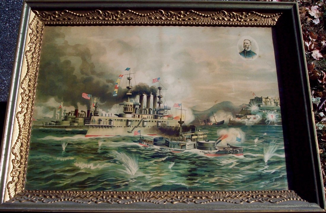 """19THC CHROMOLITHOGRAPH \\\""""THE SINKING OF THE"""