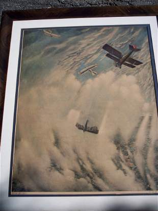 """FINE VINTAGE LITHOGRAPH OF """"WAR IN THE AIR"""""""