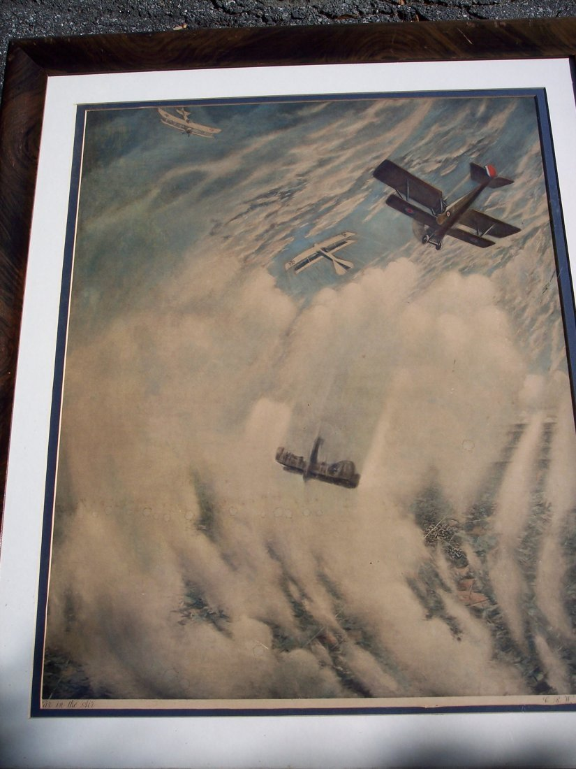 "FINE VINTAGE LITHOGRAPH OF ""WAR IN THE AIR"""