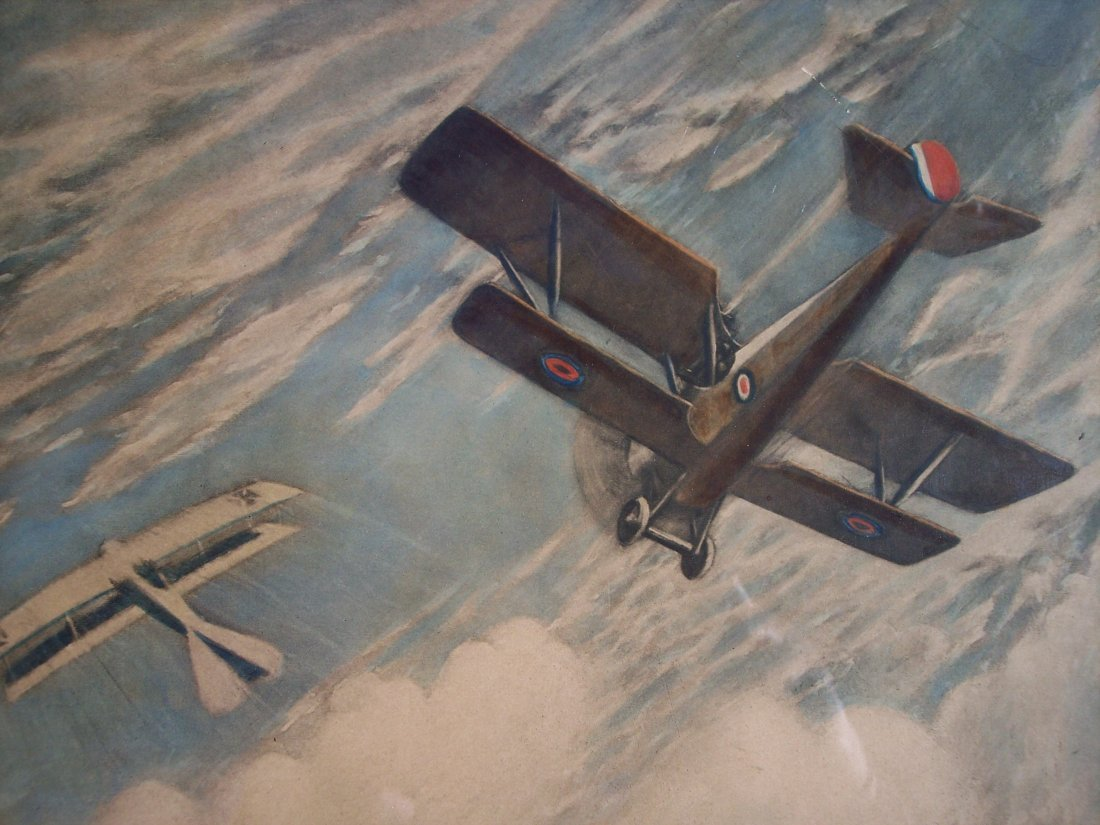 "FINE VINTAGE LITHOGRAPH OF ""WAR IN THE AIR"" - 3"