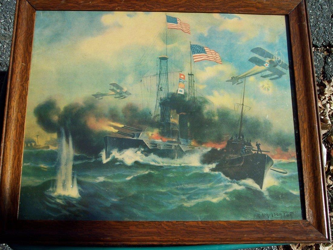 R. ATKINSON FOX WWI OCEAN BATTLE CHROMOLITHOGRAPH