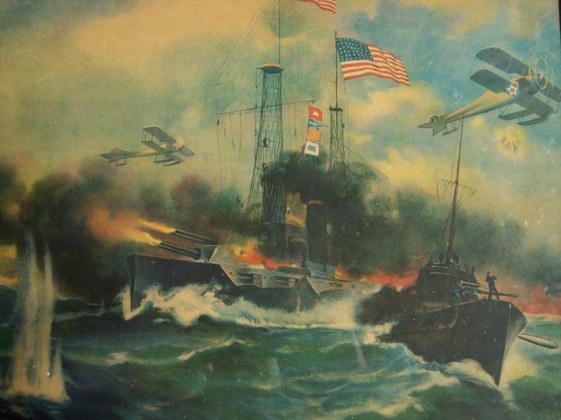 R. ATKINSON FOX WWI OCEAN BATTLE CHROMOLITHOGRAPH - 2