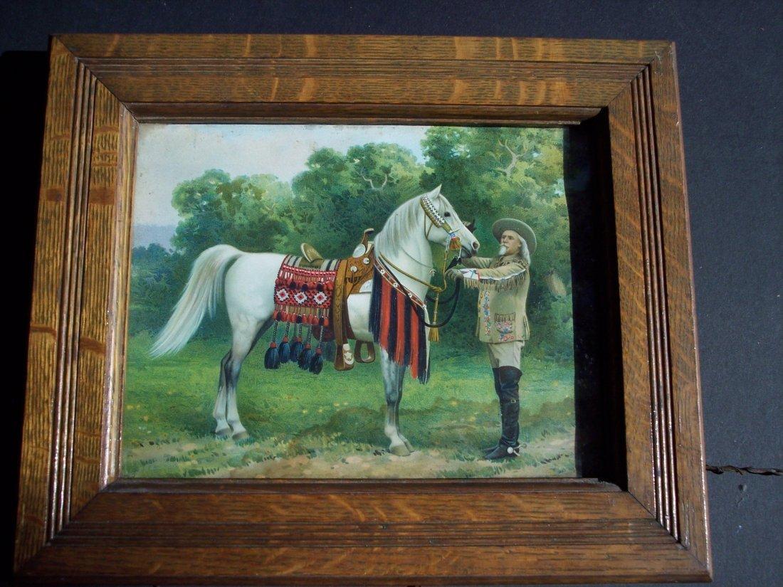 19THC CHROMOLITHOGRAPH OF BUFFALO BILL CODY & HORSE
