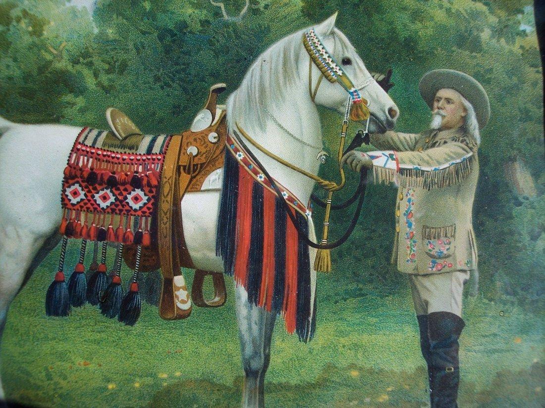 19THC CHROMOLITHOGRAPH OF BUFFALO BILL CODY & HORSE - 2
