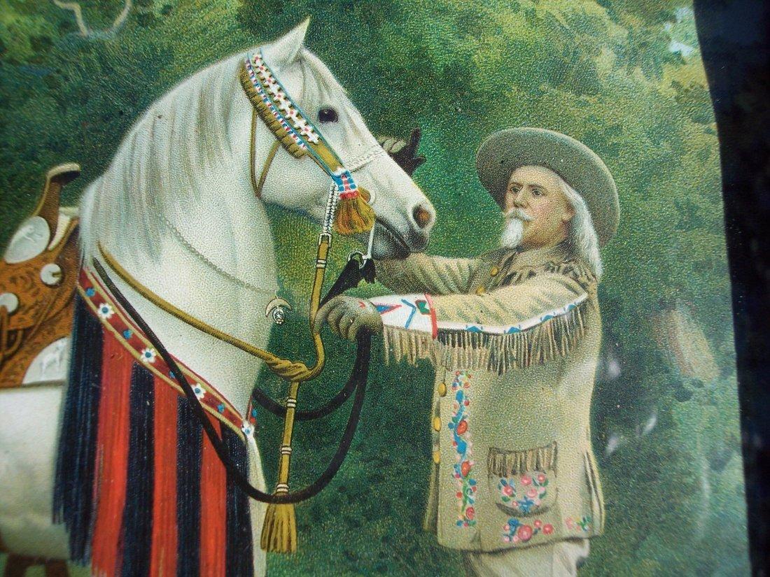 19THC CHROMOLITHOGRAPH OF BUFFALO BILL CODY & HORSE - 3