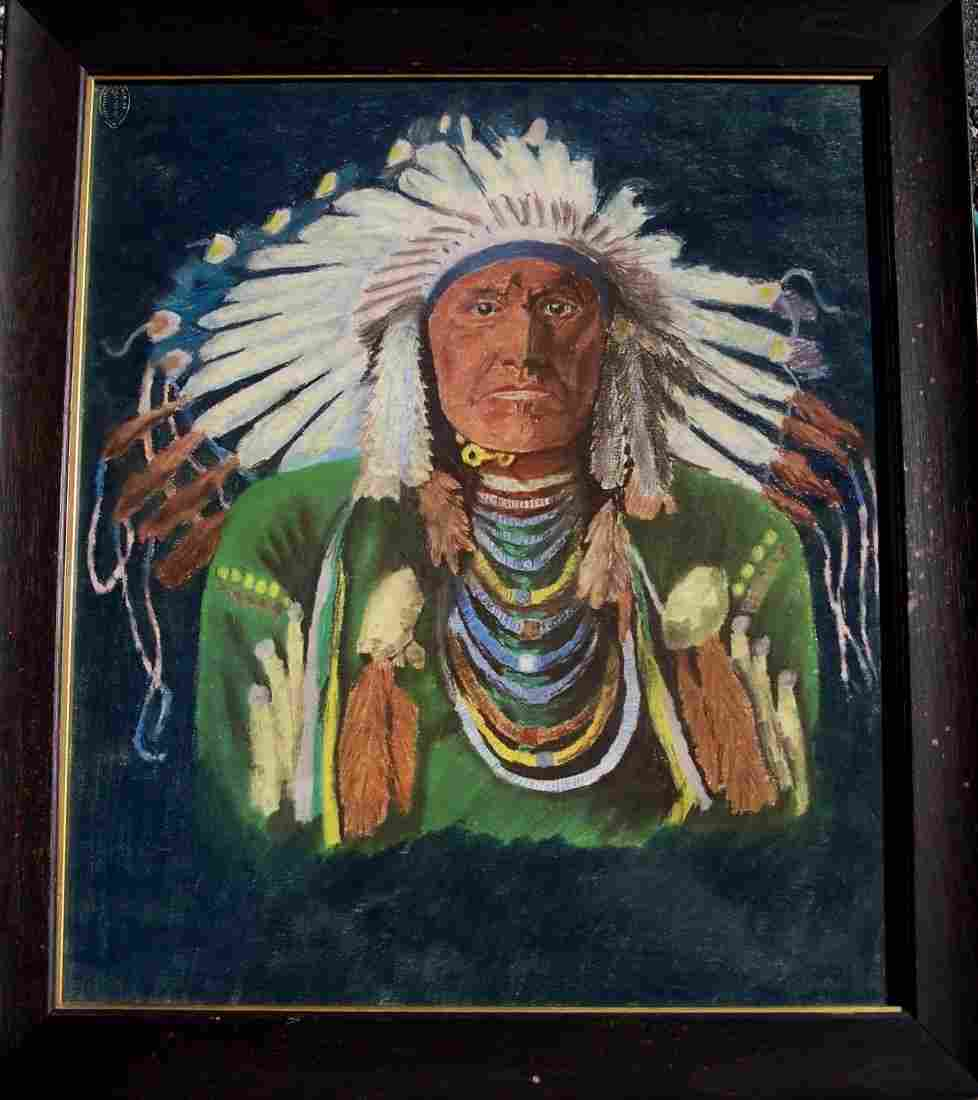 VINTAGE 19THC LITHOGRAPH OF NATIVE AM. INDIAN CHIEF