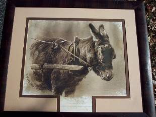 19THC LITHO OF A DONKEY'S HEAD DRAWN FROM NATURE