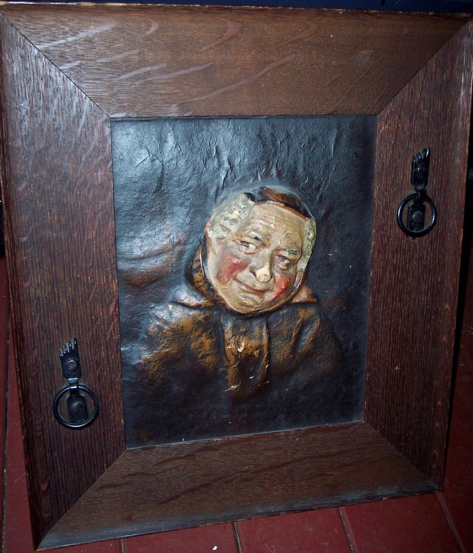 1910 FOLK ART PAPER MACHE MONK IN ARTS & CRAFTS FRAME