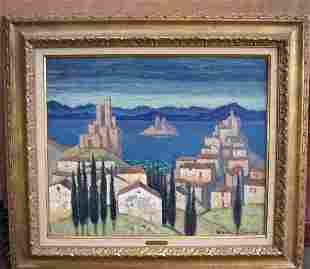 """SIGNED MARTIN-FERRIERES OIL TITLED"""" LAC ITALIEN"""""""