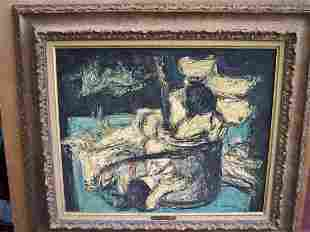"""SIGNED MAURICE VRDIER OIL TITLED """"CAMELIAS BLANCS"""""""