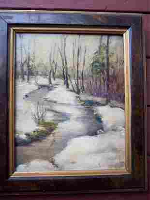 UNSIGNED OIL ON CANVAS OF New England WINTER STREAM